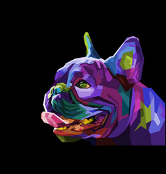 colorful pug head dog on geometric pop art style vector image