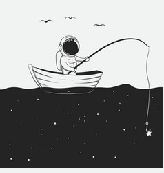 cosmonaut is fishing in the space sea vector image