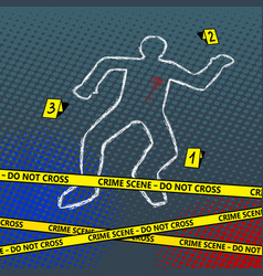 Crime scene body chalk outline pop art vector