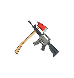Crossed fire ax and m4 carbine rifle drawing vector