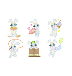 cute adorable bunny cartoon character set vector image