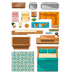 Different icons of furniture top view vector