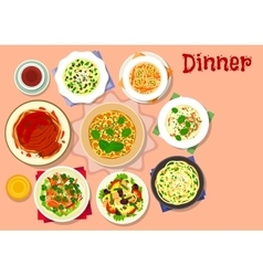 Dinner dishes with dessert icon for menu design vector image