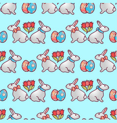 easter bunnies seamless pattern6 vector image