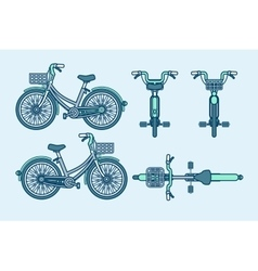 eco-friendly bike front side back view line vector image