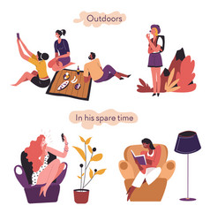 Extrovert and introvert comparison outdoors vector