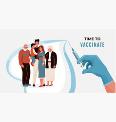 family vaccination concept banner vector image