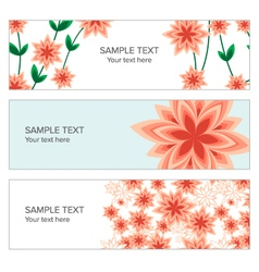 Floral banner with geometric peach flowers vector image