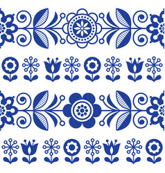 Folk art seamless pattern with flowers vector
