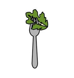 Fresh leaf lettuce in the fork utensil vector