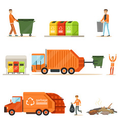 Garbage collector at work series of vector