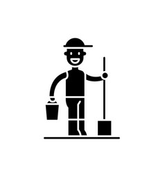gardener black icon sign on isolated vector image