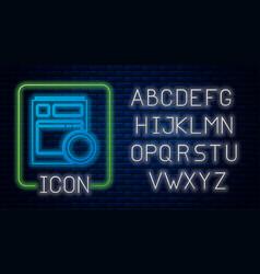 Glowing neon kitchen dishwasher machine icon vector