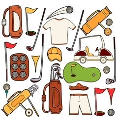 Golf color icons set in cartoon style vector