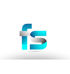Grey blue alphabet letter fs f s logo 3d design vector