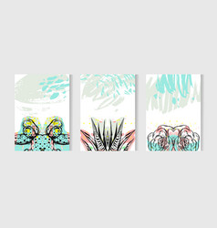 hand drawn tropical cards set collection vector image