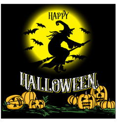 happy halloween hand drawn wizard and text vector image