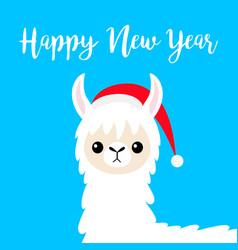 Happy new year llama alpaca baby face santa hat vector