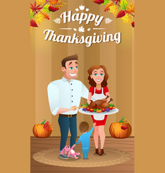 Happy young family with baked turkey vector