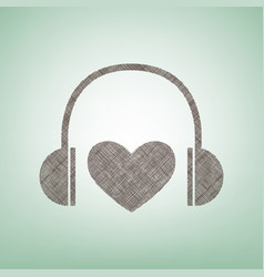 headphones with heart brown flax icon on vector image