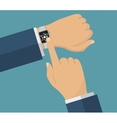 human hand with smart watches operation vector image