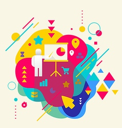 Human with a pointer on abstract colorful spotted vector