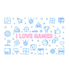 i love games concept outline horizontal vector image