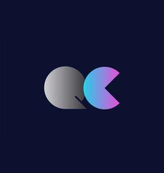initial alphabet letter qc q c logo company icon vector image
