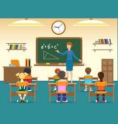 Kids sitting in classroom vector