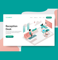 landing page template reception desk concept vector image