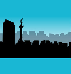 Landscape of mexico city silhouettes vector