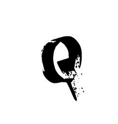letter q handwritten by dry brush rough strokes vector image