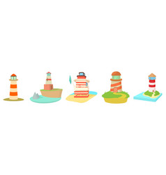 light house icon set cartoon style vector image