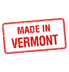 Made in vermont red square isolated stamp vector