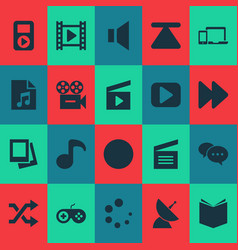 media icons set with joystick musical note vector image