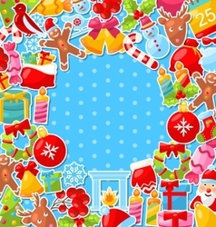 Merry Christmas Background with Traditional vector image