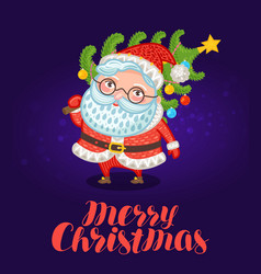 merry christmas greeting card cute santa claus vector image