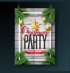 merry christmas party flyer design with vector image