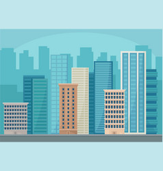 Modern cityscape with skyscraper buildings urban vector