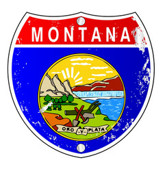 Montana flag icons as interstate sign vector