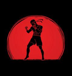 Muay thai thai boxing standing vector