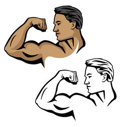 Muscular male flexing bicep arm muscle vector
