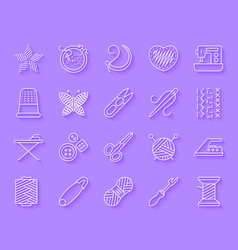 Needlework simple paper cut icons set vector