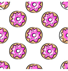 pink donuts seamless pattern on white decorative vector image