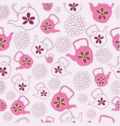 pink teapots seamless pattern design vector image