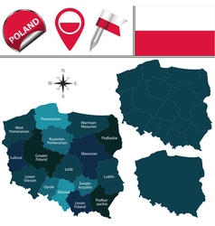 Poland map with named divisions vector image