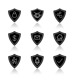 protection shields drop shadow black glyph icons vector image