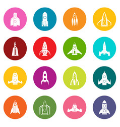 rocket icons many colors set vector image