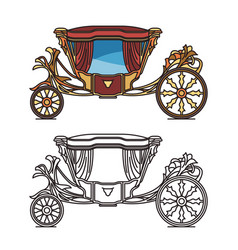 royal horse chariot for travel or vintage carriage vector image