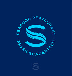 s monogram two eels seafood restaurant vector image